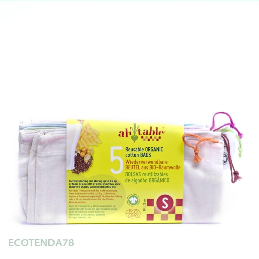 Pack de 5 bolsas de algodón ecológico para frutas y