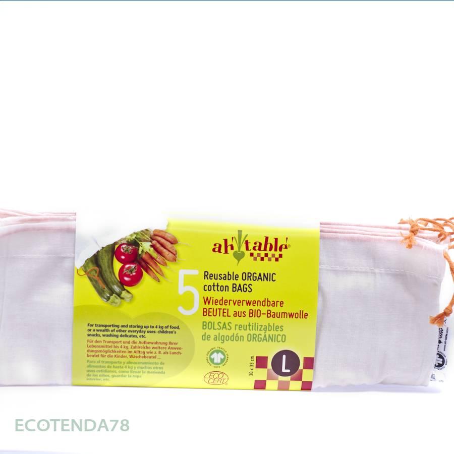 Pack de 5 bolsas de algodón ecológico para cereales y